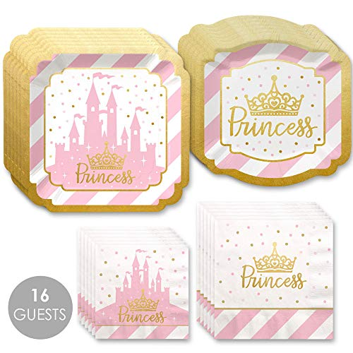 Big Dot of Happiness Little Princess Crown with Gold Foil - Pink and Gold Princess Baby Shower or Birthday Party Tableware Plates and Napkins - Bundle for 16 -
