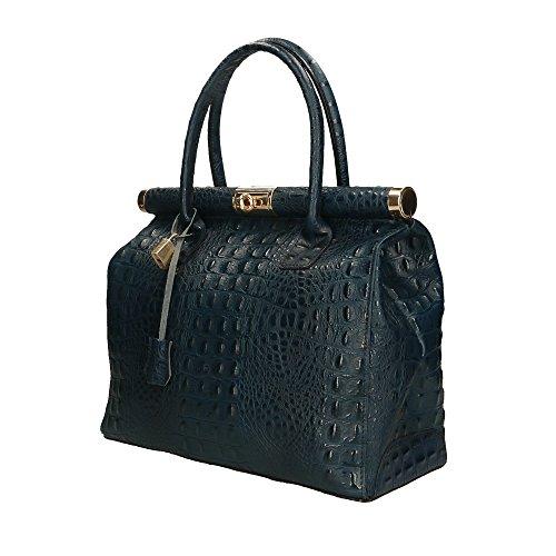 Bleu en Sac main 32x26x14 Cm véritable Made à cuir Italy Foncé in femme Aren xpAaqq