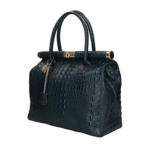 Aren 32x26x14 Cm en Made véritable main Bleu cuir Foncé in à femme Italy Sac rvxrZSq6