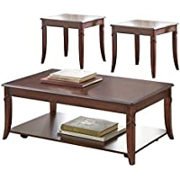 Steve Silver Company 3 Piece Draco Occasional Set (Cocktail Table: 48 x 27 x 18/End Table: 22 x 25 x 23/Chairside Table: 18 x 25 x 23)