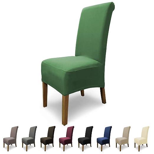 SCHEFFLER-Home Emma 2 Fundas de sillas, Estirable Cubiertas, Algodón extraíble flexibel Funda con Banda elástica, Verde