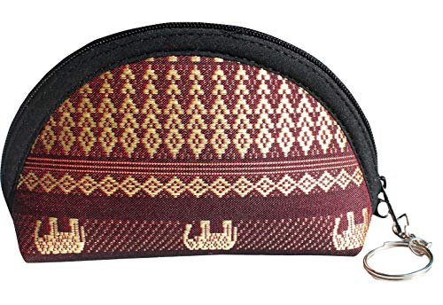 RaanPahMuang Thailand Silk Wallet Set of Three Sized Matching Coin Pouches, Seal Brown