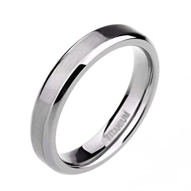 tigrade unisex 4mm titanium brushed finish beveled edge classy rings wedding band size 4 15 - Wedding Band Rings