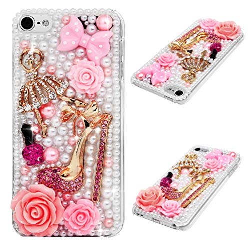 iPod Touch 6 Case, Crystal Clear PC Bumper Back Shell 3D Handmade Bling Shiny Glitter Sparkle Full Diamonds Rhinestones Gem Ultral Slim Bumper Colorful Jewelry PC Cover for iPod Touch 6 - Makeups (Cover Back Rhinestone)