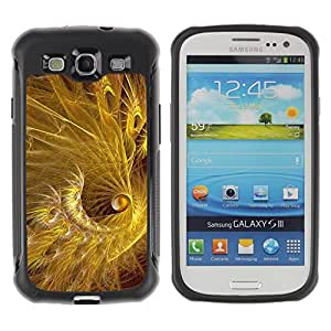 All-Round Hybrid Rubber Case Hard Cover Protective Accessory Compatible with SAMSUNG GALAXY S3 & I9300 - feather gold golden black shiny