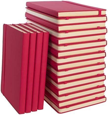 Simply Genius A5 ハードカバー 合成皮革 日記帳 20枚パック 女性用 人工皮革 日記帳 罫線入り 5.7インチ×8.4インチ