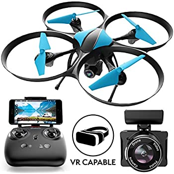"Force1 Drones with Camera - ""U49W Blue Heron"" VR Capable WiFi FPV Drone with Camera Live Video w/Cool Drone Camera + Camera Drone Bonus Battery"