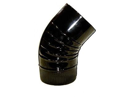 Wolfpack 22011112 Codo para Estufa Negro 120 mm