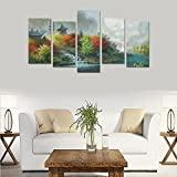 Custom Custom Oil Painting Print Fantasy Art Painting Trees Autumn Rivers Castle Canvas Print Bedroom Wall Canvas Decoration Hotel Fashion Design Wall Art 5 Piece Oil Paintings Canvas (No Frame)