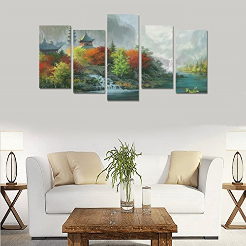 Custom Custom Oil Painting Print Fantasy Art Painting Trees Autumn Rivers Castle Canvas Print Bedroom Wall Canvas Decoration Hotel Fashion Design Wall Art 5 Piece Oil Paintings Canvas (No Frame) by sentufuzhuang Canvas Printing