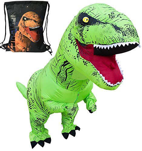 LuckySun Adult T-Rex Dinosaur Inflatable Costume Green With Christmas gift Exclusive Drawstring Bag … (Adult Dinosaur)