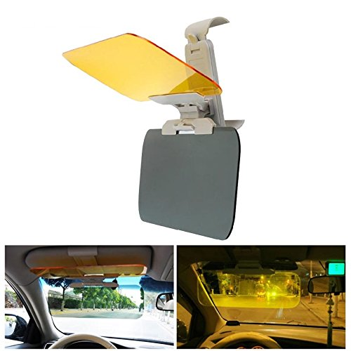Geekercity Day and Night Anti-Glare Car Windshield Visor 2 in 1 Premium Quality Universal Transparent Sunshade and Night Vision Anti-Dazzle Clip-on Auto Sun Shield Driving Mirror