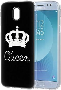 Yoedge Funda Samsung Galaxy J5 2017, Silicona Ultra Slim Cárcasa con King Queen Diseño Patrón Bumper Case Cover Fundas para Samsung Galaxy J5 2017 / J530 Smartphone (Queen, Negro-Blanco): Amazon.es: Electrónica