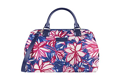 (Lipault - Blooming Summer Bowling Bag - Medium Top Handle Shoulder Boston Handbag for Women - Flower/Pink/Blue)