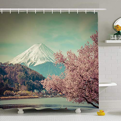 (Ahawoso Shower Curtain 72x78 Inches Capped Mountain Fuji Spring Cherry Blossom Sakura Lanscape Nature Panorama Blosson Boat Festival Waterproof Polyester Fabric Bathroom Curtains Set with Hooks)