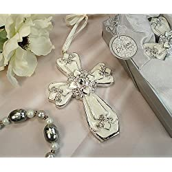 Wedding Favors Medium ivory silver classic cross ornament