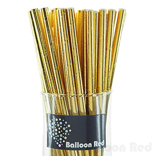 Biodegradable Paper Drinking Straws (Premium Quality), Pack of 50, Solid - Metallic Glossy Gold (Halloween Activities For 4th And 5th Grade)