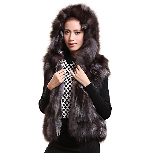 Fur Story Women's Short Real Silver Fox Fur Vest With Hood Nature Brown US - U Sunglasses Turn