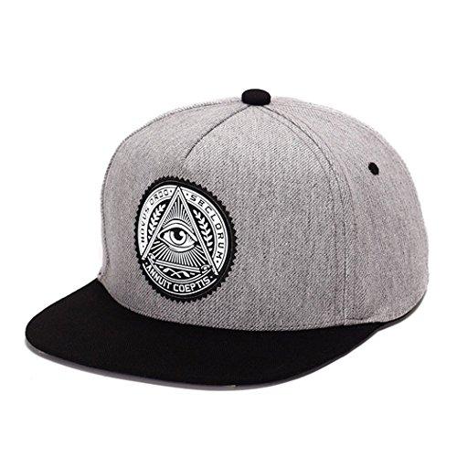 (King Star Men Solid Flat Bill Hip Hop Snapback Baseball Cap Eye-Gray )
