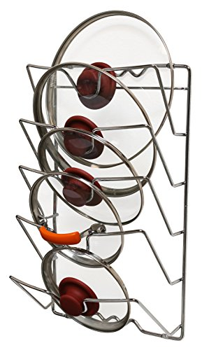 DecoBros Wall Door Mounted Pot Lid Rack, Chrome Finish (Pan Lid Rack)