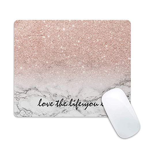 Galdas Gaming Mouse Pad Pink Marble Design Mousepad Non Slip Rubber Mouse Mat
