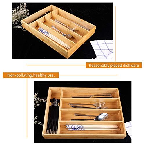 Keyfun Organizers 5-Slot Bamboo Cutlery Drawer Organizer by Keyfun (Image #4)