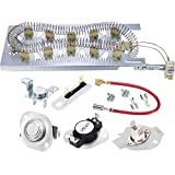 Jetec 3387747 Heating Element 279973 3392519 Thermal Fuse and 279816 Thermostat Dryer Replacement Compatible with Kenmore, KitchenAid, Amana