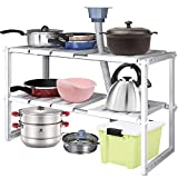 2 Tier Expandable Adjustable Under Sink Organizer - Multifunctional Storage Rack, Shoe Organizer, Cabinet Organizer,14.9' to 27.5'