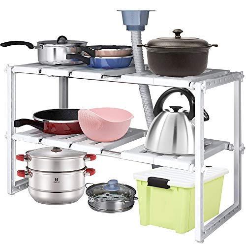 2 Tier Expandable Adjustable Under Sink Organizer - Multifunctional Storage Rack, Shoe Organizer, Cabinet Organizer,14.9'' to 27.5'' by BG-Style