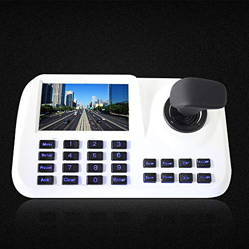 Inesun Inesun PTZ Controller Joystick LCD Security (Pan Tilt Zoom) Speed Dome Camera 5 inch 3D HD LCD Display Keyboard Controller, White