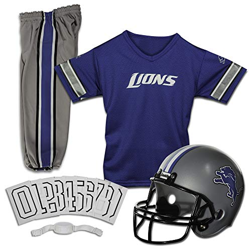 Franklin Sports Detroit Lions Kids Football Uniform Set - NFL Youth Football Costume for Boys & Girls - Set Includes Helmet, Jersey & Pants - Medium