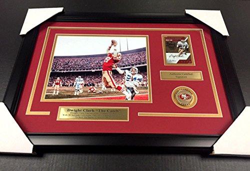 Dwight Clark The Catch Autographed Card Framed San Francisco 49'ers 8x10 Photo - Autographed NFL Photos