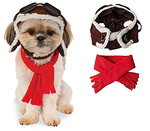 Dog Aviator Costume (Aviator Hat & Scarf Set Dog Pet Costume - Size Small/Medium (Easy, Comfortable, Cute!))