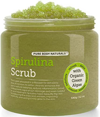 Pure Body Naturals Spirulina and Dead Sea Salt Body Scrub, 12 Oz