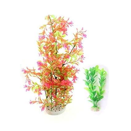 Amazon.com : 2 en 1 acuario de plástico acuática Plantas de la decoración de las rosas 17, 7 Verde : Pet Supplies