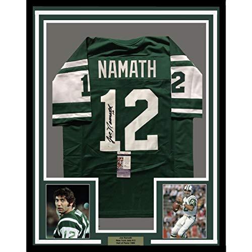 Framed Autographed/Signed Joe Namath 33x42 New York Jets Green Football Jersey JSA COA