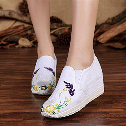 KHSKX-Die Neuen Nationalen China Wind Stickereien Bestickt Schuhe Gummi Sohle Schuhe Die Erhöhung Eine Rutschfeste Schuhe white