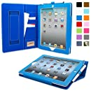 Snugg iPad 2 Executive Leather Case in Electric Blue - Flip Stand Cover with Card Slots, Pocket, Elastic Hand Strap and Premium Nubuck Fibre Interior - Automatically Wakes and Puts the Apple iPad 2 to Sleep