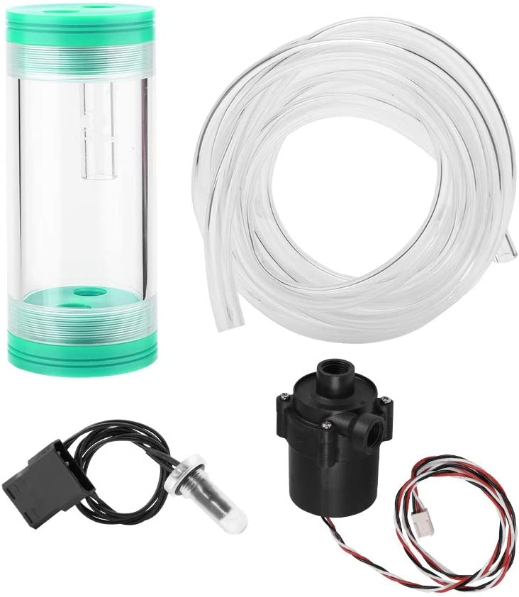 Asixx Water Cooling Cylindrical Tank and Dual Fan Pump Water Cooling Kit DIY Water Cooling Set with 240mm Radiator