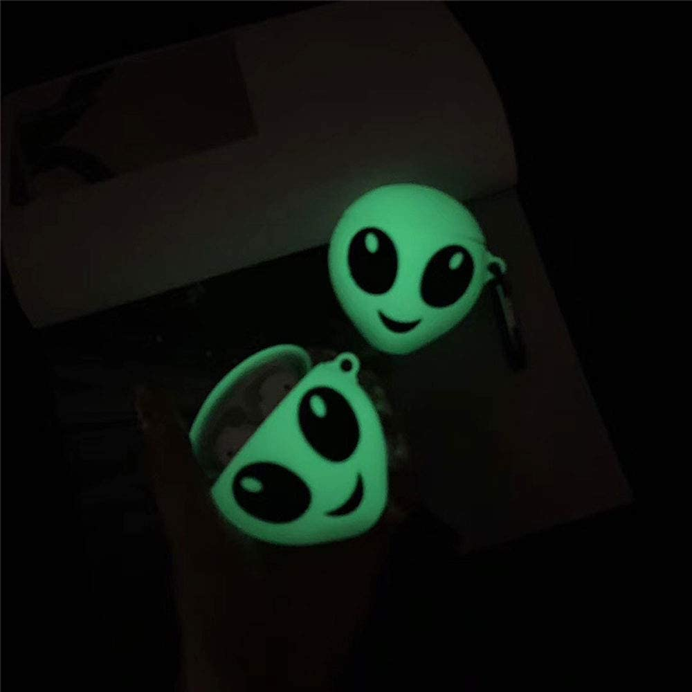 ICI-Rencontrer Super Creative Luminous Smiling Alien Design Airpods Case Cool Cute Wireless Earphone Shockproof Soft Silcone Protector AirPods Accessories With Hook