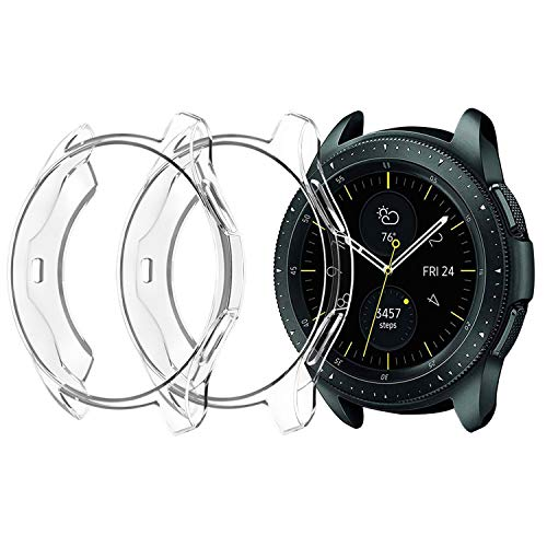 [2-Pack] Hankn for Samsung Galaxy Watch Case 46mm Clear, Soft TPU Shock-Proof Bumper Protector Shell Transparent Cover for Gear S3 Frontier SM-R760 | S3 Classic SM-R770 | Galaxy Watch SM-R800 (Samsung Galaxy S3 Cases Clear)