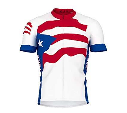 ScudoPro Puerto Rico Flag Short Sleeve Cycling Jersey for Men - Size XS c1d3bba92
