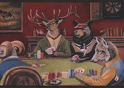 Wallpaper Border Card Game Moose, Bear, Elk, Fox & Sheep