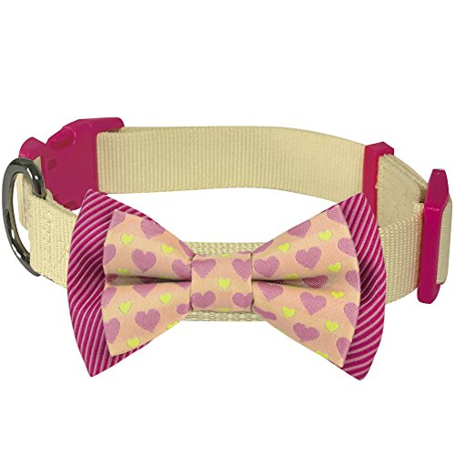 "Blueberry Pet 4 Patterns Heart and Stripe Handmade Detachable Bow Tie Dog Collar in Fresh Cream, Medium, Neck 14.5""-20"", Adjustable Collars for Dogs"
