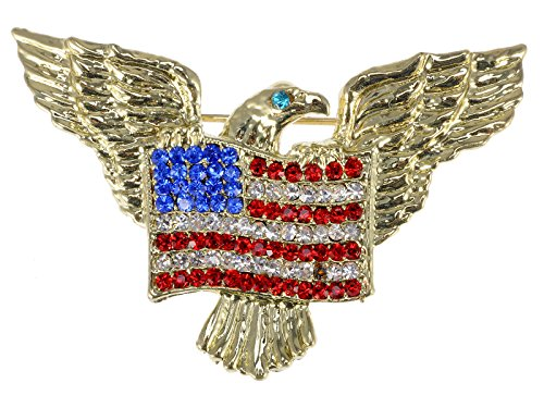 Alilang Golden Tone Patriotic American Eagle Rhinestone USA Flag Brooch Pin