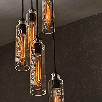 Voss Recycle Glass Water Bottle 5 Light Hanging Pendant Chandelier With Vintage Style Lightbulbs and Customizable Finish