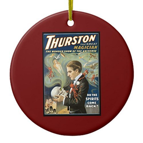 Vintage Magic Poster, Thurston, the Great Magician Ceramic Ornament Circle Designed by Gloria Yerkes (Hanging Thurston)