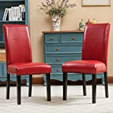 Roundhill Furniture Donatello Urban Style Solid Wood Leatherette Padded  Parson Chair, Set Of 2, Red
