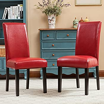 Lovely Roundhill Furniture Donatello Urban Style Solid Wood Leatherette Padded  Parson Chair, Set Of 2,
