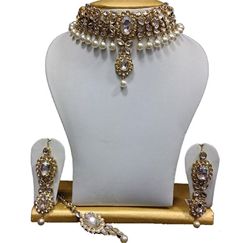 Indian Bollywood Fashionable CZ White Pearls Ethnic Gold ...